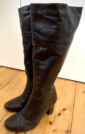 Laarzen met hak donkerbruin Leer