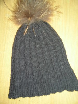 Cappello con pon pon nero Tessuto misto