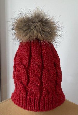 / Chapeau en tricot rouge viscose