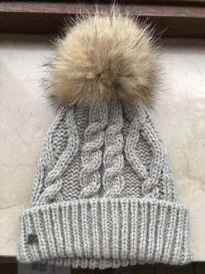 Seeberger Chapeau en tricot gris clair-gris laine