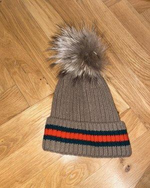 Warme Mütze mit Echtfell Bommel