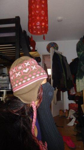Protest Cappello a maglia marrone-rosa