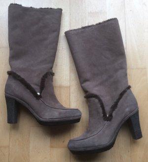 Warme Stiefel LIU JO Leder&Fell Gr. 40 taupe braun
