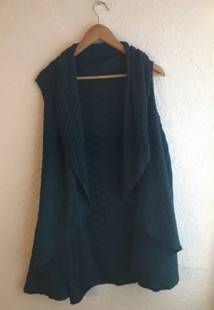 Gilet tricoté bleu cadet-bleu pétrole