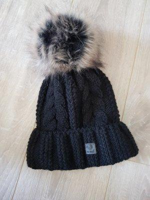 Chapeau en tissu noir acrylique