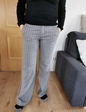 Oui Wełniane spodnie jasnoszary-różany