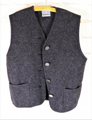 Traditional Vest anthracite-dark grey wool