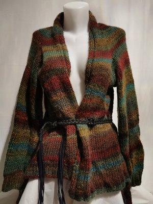 Handmade Manteau en tricot rouge foncé-bleu clair