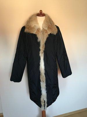 Warmer Mantel mit Echtpelzkragen und -besatz im Vintage-Style