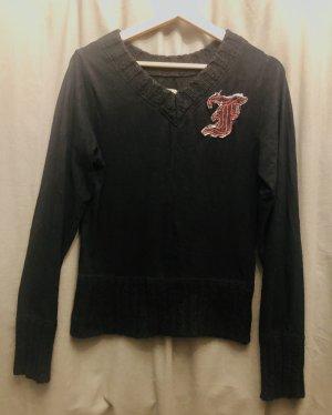Freesoul Jersey con cuello de pico negro-rojo oscuro