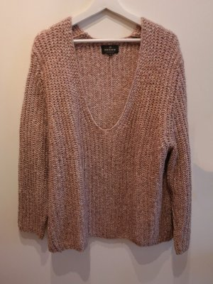 Review Sweter z grubej dzianiny stary róż Bawełna