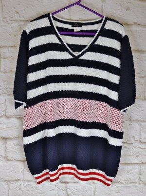 Warmer Sommerpullover Strickpullover Pullover Paola! Größe 50 XXL Streifen Maritim Blau Weiß Rot Strick Pulli Kurzarm Oversize