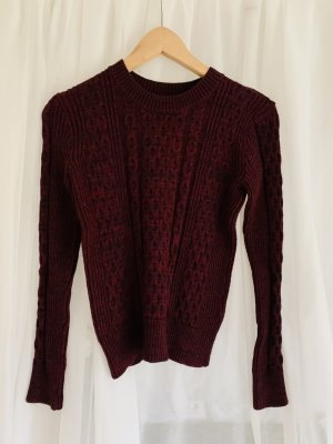 Warmer Strickpullover Zopfmuster American Apparel weinrot