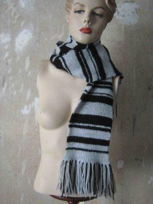 Gebreide sjaal lichtgrijs-zwart