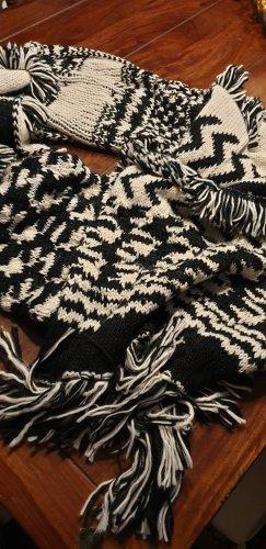 H&M Bufanda de punto negro-blanco puro