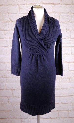 Warmes Strickkleid H&M Größe 38 Schalkragen Kleid Marine Dunkelblau Lila Winterkleid Minikleid