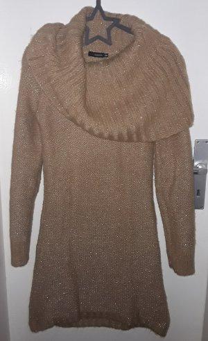 Warmes Woll Strick Kleid goldglitzer mit großem weitem Kragen