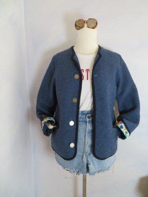 Waschbär Naturmode Wollfilz Jacke mit Kellerfalte - Blau Walkjacke -S M - 100% Wolljacke - Öko Mode