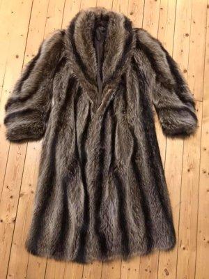 Manteau de fourrure marron clair-gris fourrure