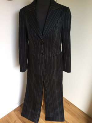 Authentic Pinstripe Suit black-white cotton