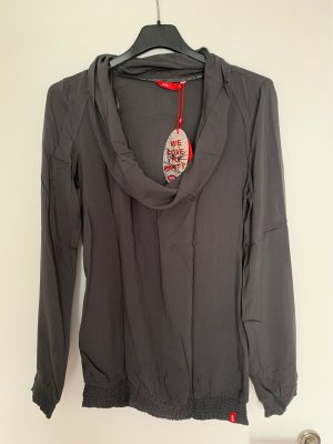 edc Camisa con cuello caído gris antracita