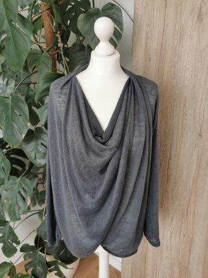 Wasserfall-Shirt Longsleeve Oberteil grau M