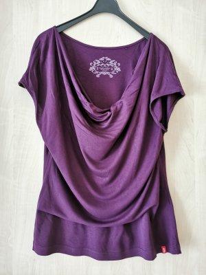 edc by Esprit Koszulka z dekoltem woda czerwona jeżyna-ciemny fiolet