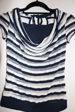 Cowl-Neck Shirt dark blue-white