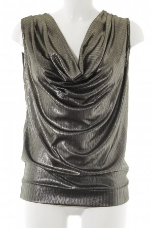 Cowl-Neck Top silver-colored-black striped pattern extravagant style