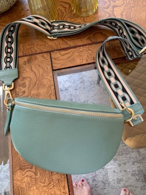 Wassergrüne Leder Bauchtasche Umhängetasche mit 2 Riemen neu