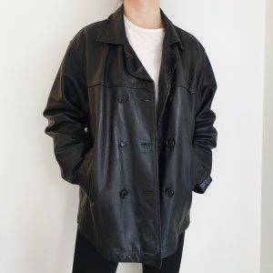 Wave rebel Echtleder True Vintage Lederjacke Bikerjacke schwarz Oversize parka Mantel Jacke