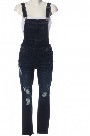 Wax jean Vaquero tipo peto azul look casual