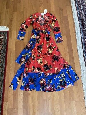 Robe manteau rouge brique-bleu soie