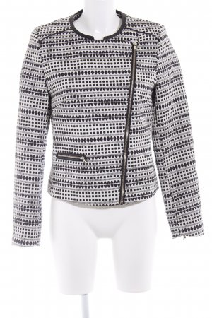 WE Fashion Kurzjacke wollweiß-schwarz abstraktes Muster Lederelemente