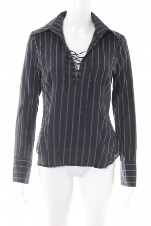 WE Fashion Langarm-Bluse dunkelblau-weiß Streifenmuster Casual-Look