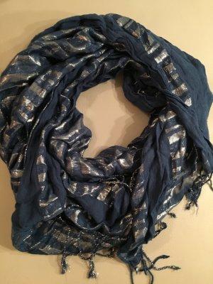 WE Fashion Schal dunkelblau mit Silber, NEU und ungetragen