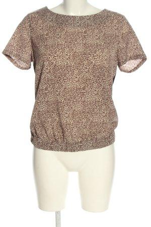 WE Kurzarm-Bluse braun-creme abstraktes Muster Casual-Look