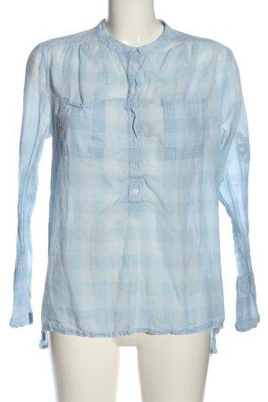 WE Langarm-Bluse blau-weiß Allover-Druck Casual-Look