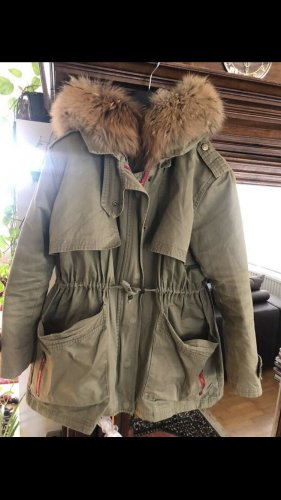 We Love Furs Long Jacket khaki cotton