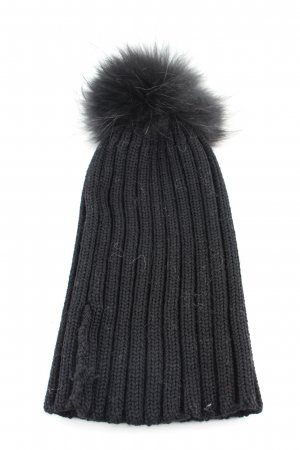 We Love Furs Strickmütze schwarz Zopfmuster Casual-Look