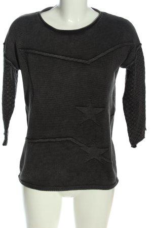 We love XOX Rundhalspullover schwarz grafisches Muster Casual-Look