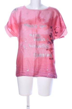 We love XOX T-Shirt pink-silberfarben Motivdruck Casual-Look