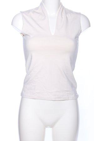 Maglia con scollo a V bianco sporco stile casual