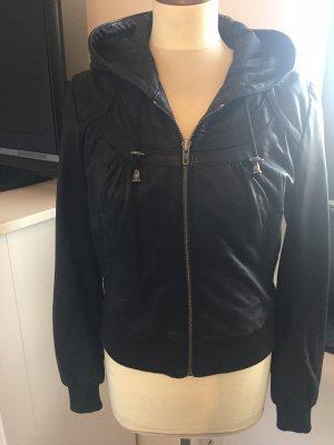 Wearhouse echt Lederjacke in schwarz mit Kapuze