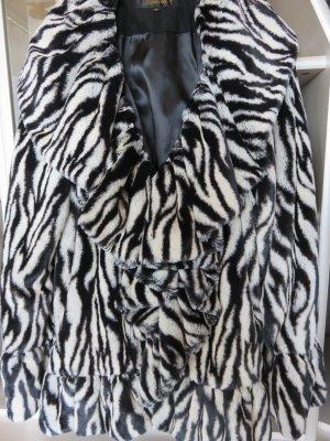 Veste en fausse fourrure noir-blanc acrylique