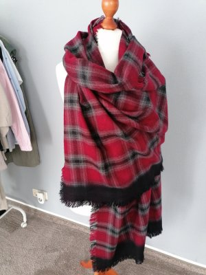 Webschal Winter warm Karomuster rot beerenfarben grau schwarz neu