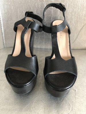 Sandalias con plataforma negro Cuero