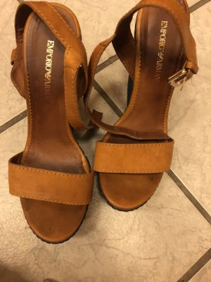 Armani Platform Sandals cognac-coloured-cornflower blue