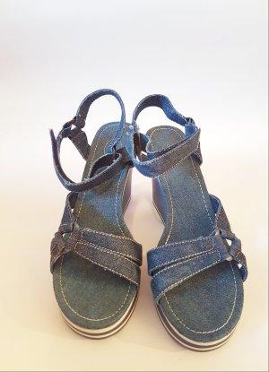Wedge-Sandaletten in Jeansoptik