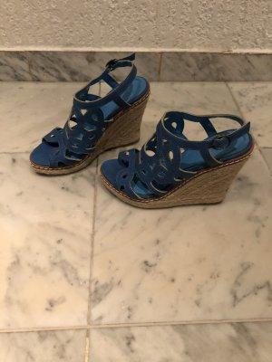 Plateauzool sandalen neon blauw